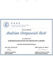 Certify of European Association for endoscopic surgery